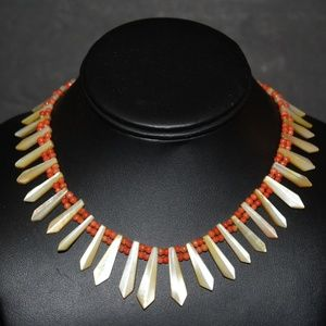 ATQ ART DECO STERLING MOP CORAL NECKLACE